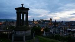 Timelapse of sunset over edinburgh, scotland Stock Footage