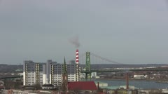 NS Power Smoke stacks and bridge Stock Footage