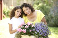 Grandmother And Granddaughter Gardening Together Stock Photos