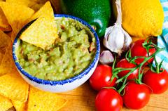avocado guacamole ingredients - stock photo
