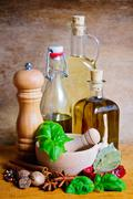 olive oil and spices - stock photo