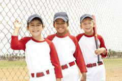 Young Boys In Baseball Team Stock Photos