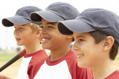 Young Boys In Baseball Team - stock photo