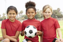 Young Girls In Football Team Stock Photos