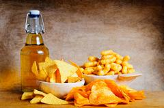 Beer and snacks Stock Photos