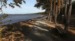 Footpath near the lake coast. Stock Footage