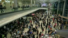 Crowd of people at Moscow Domodedovo airport Stock Footage