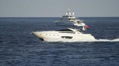 Luxury Yacht at speed Stock Footage