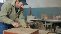 Furniture maker at work Stock Footage