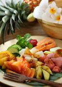 Rujak, traditional fruit salad dish commonly found in indonesia Stock Photos