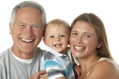 Portrait Of Grandfather With Daughter And Grandson Stock Photos