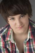 Close Up Studio Portrait Of Teenage Girl - stock photo