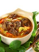 mutton in sweet and spicy soy sauce - stock photo
