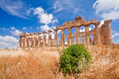 greek temple in selinunte - stock photo
