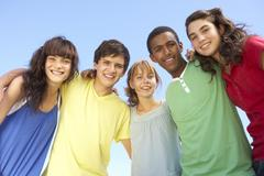 Group Of Teenage Friends Standing Outside - stock photo