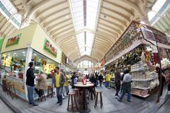 Brazilians and world travelers buy lunch at Mercado Municipal Stock Photos