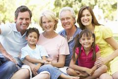 Extended Group Portrait Of Family Enjoying Day In Park - stock photo