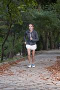 Jogging in forest Stock Photos