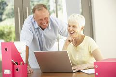 Adult Son And Senior Mother Using Laptop At Home - stock photo
