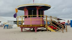 Lifeguard tower on South Beach Miami Stock Footage