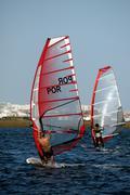 two windsurfers - stock photo