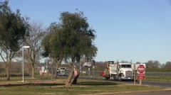 Truck stop, rest stop, off ramp Stock Footage