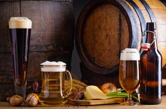 beer and traditional food - stock photo