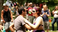 COUPLE DANCING OUTSIDE - stock footage