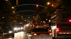 COLUMBUS, OHIO -  SHORT ARCHES - NIGHT SHOT - BUSY STREET Stock Footage