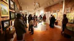 PEOPLE IN ART GALLERY 2 Stock Footage