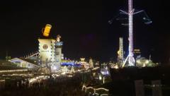 TL N - Oktoberfest Munich Germany, Beer Festival at night, overview of the fair Stock Footage