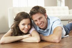 Affectionate Couple Relaxing At Home Together - stock photo