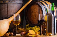 winery with food and wine - stock photo