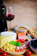 appetizer and wine - stock photo