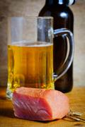 Ham and beer Stock Photos