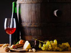 rustic food and red wine - stock photo