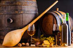 traditional food and wine - stock photo