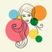 fashion woman face sketch - stock illustration