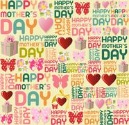 Happy mother day pattern Stock Illustration