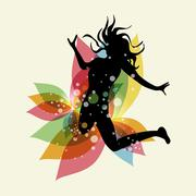 multicolored free woman - stock illustration