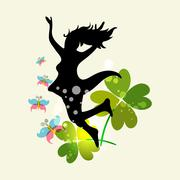 spring woman freedom - stock illustration