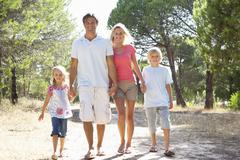 Family, parents and children,walking,walk together in park Stock Photos