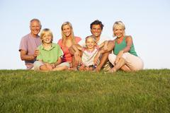 A family, with parents, children and grandparents, posing in a field Stock Photos