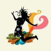 woman creative energy - stock illustration