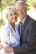 Portrait Of Senior Bridal Couple Outdoors Stock Photos