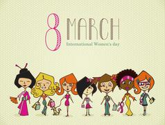 diversity 8 march women day - stock illustration