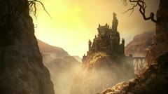 Stock Video Footage of Fantasy shot. Castle on the rock Old fortress medieval building from stone kigs