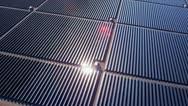 Aerial view desert Solar Energy Farm, USA Stock Footage