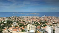 Stock Video Footage of UHD Ultra HD 4K Marseille Skyline Islands Cityscape Seascape France time lapse