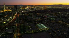 Aerial sunset view Las Vegas suburbs, USA Stock Footage